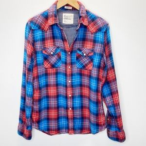 American Eagle Vintage Fit Pearl Snap Plaid Top
